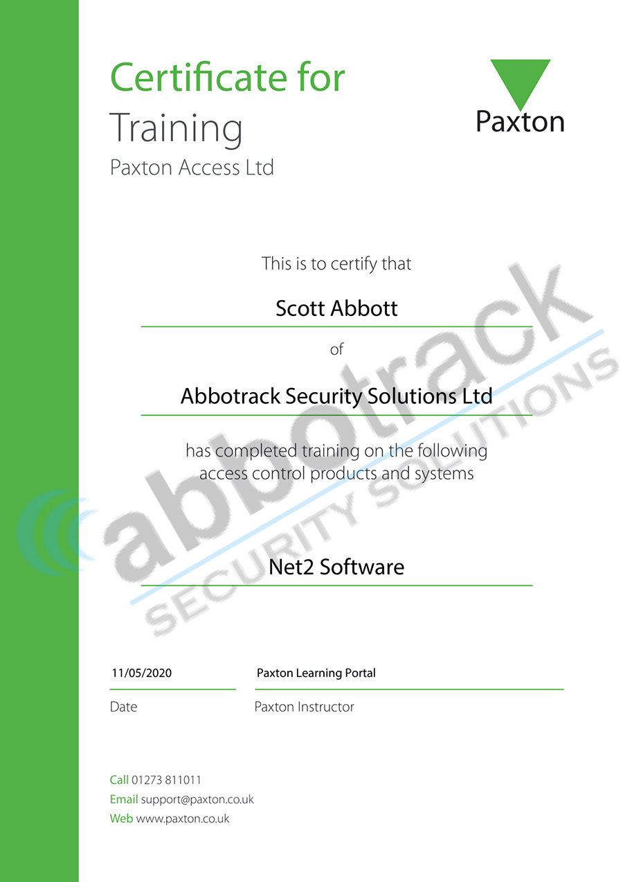 Certificate-for-completing-the-training-for-Net2-Software