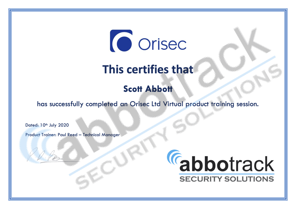 Certificate for completing the training for Orisec Ltd security systems