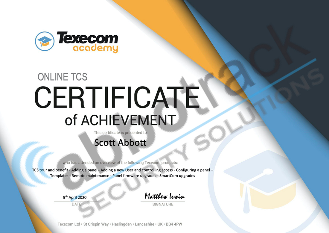 Certificate-for-completing-the-training-for-Texecom-Cloud-Service