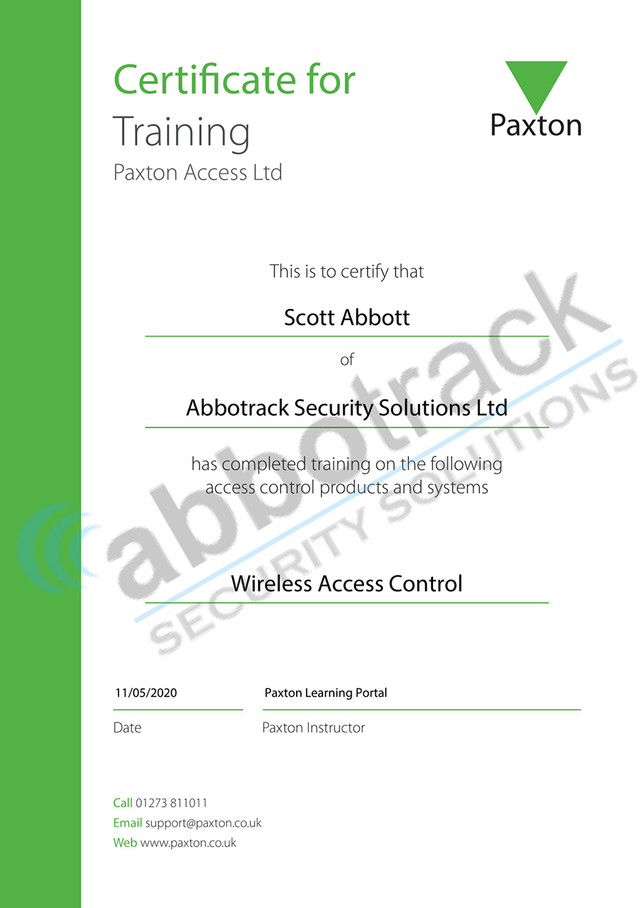 Certificate-for-completing-the-training-for-Wireless-Access-Control