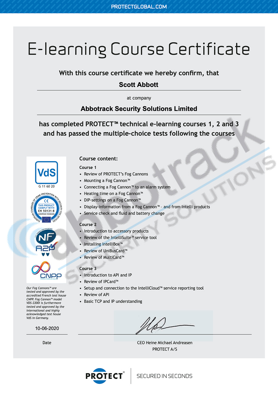 PROTECT_Course_certificate_Scott_Abbott_Abbotrack_Security_Solutions_Limited_2020